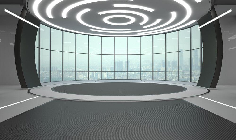 3D Raum mit Blick auf die Stadt